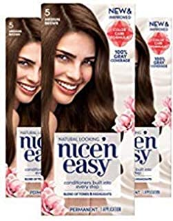 Clairol Nice`n Easy Permanent Hair Color, 5 Medium Brown, Pack of 3