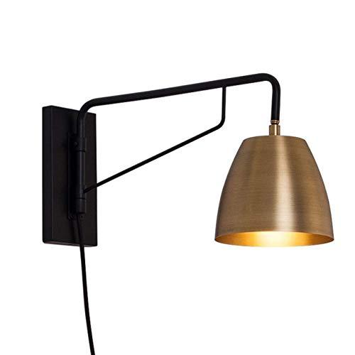 YANQING Duurzame Wandlamp Slaapkamer met Stekker, Draaibare armatuur Hoofd, Goud Metalen nachtlampje, 1,8 m Kabel met Schakelaar, voor slaapkamers, Woonkamer, Leeslamp, Nachtlamp A++