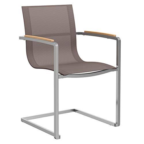 OUTLIV. Parla Freischwinger-Sessel, Gartensessel Edelstahl/Textilene, für Ihren Garten oder Balkon, Bespannung in Taupe