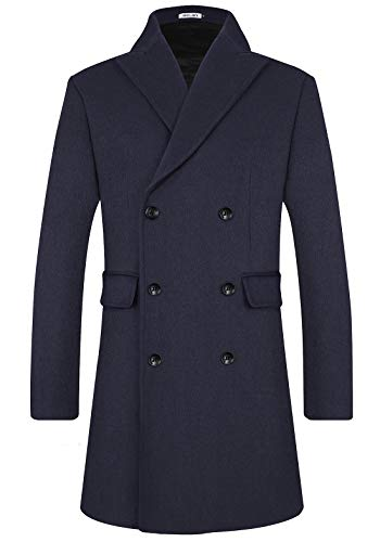 Mens Wool Trench Coat Winter Blend Top Pea Coat Long Double Breasted Classic Stylish Business Overcoat (1965) - Navy Blue Classic L