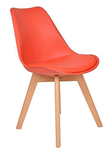 ts-ideen Sedia Poltroncina Lounge Style in Rosso e Faggio con cuscino in ecopelle Rossa