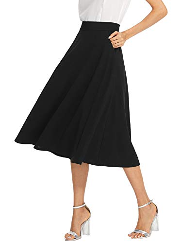 95% polyester + 5% spandex Casual pleated midi skirt with elegant look, slant pocket, invisible zipper, mid waist, no linging but won't seethrough Suit for causal, work, party, beach, daily wearing, vocation and so on Pleated skirts for women Please ...