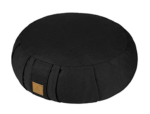 FelizMax Round Zafu Meditation Cushion, Zabuton Meditation Pillow, Yoga Bolster/Pillow, Floor seat, Zippered Organic Cotton Cover, Natural Buckwheat, Kneeling Pillow - Black and Large Size