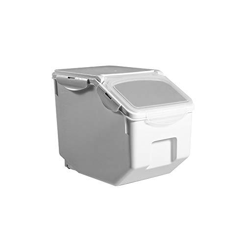 ペット フードストッカー 餌収納 保存容器 密閉 大容量 キャスター付き 米 犬餌 猫餌 ドライフード 収納ボックス 3~5kg/7~10kg 計量カップ付 湿気防止 乾燥 ホワイト 3~5kg