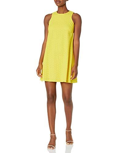 Calvin Klein Women's Sleeveless Round Neck Trapeze Dress, Canary (Eyelet), 4