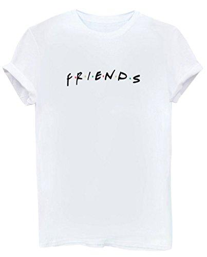 BLACKMYTH Mujer Moda Redondo Algodón T-Shirt Señoras Impresion Camisetas Manga Corta Tees Blanco Small