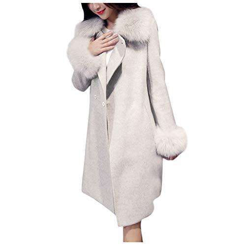 FRAUIT wollen mantel met riem dames faux bont kraag winterjas lange parka herfstjas elegante dubbele rijige trenchcoat warme voering lang gebreid vest