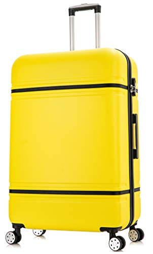 DK Luggage Lightweight ABS DK147 Hardshell Extra Large 32' Suitcase 4 Wheel Spinner Yellow