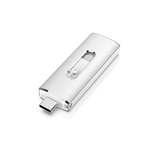 KEXIN USB C Stick 128 GB Dual OTG USB Stick 2-in-1 Memory Stick USB 3.0 Flash Drive Retractable Memory Stick for PC Laptop MacBook Type C Mobile Phone (Huawei Samsung Honor Xiaomi) Silver