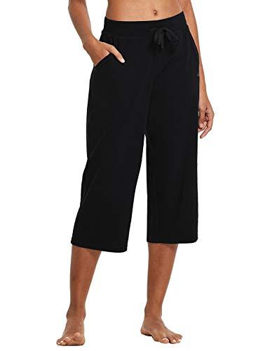 BALEAF Women's Active Lightweight Yoga Lounge Indoor Pajama Jersey Capri Pocketed Walking Pants Black Size M
