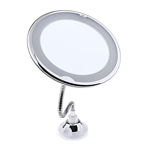TIK Tok Newly upgraded led makeup mirror 10x magnification, bathroom magnification vanity mirror, 360 Degree flexible Swivel, Battery Operated, Portable Cordless Travel and Home Vanity Mirror
