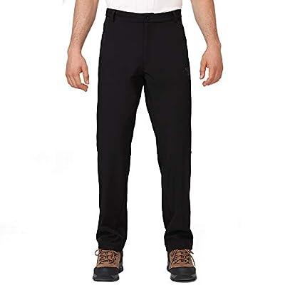 CAMEL CROWN Men's Winter Snow Pants Waterproof Warm Fleece Lined Insulated Softshell Pants for Hiking, Skiing, Hunting Black Medium