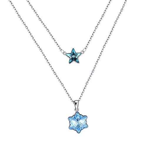 Collar de estrella de múltiples capas con gargantilla de cristal de joyería de plata esterlina S925 para mujer