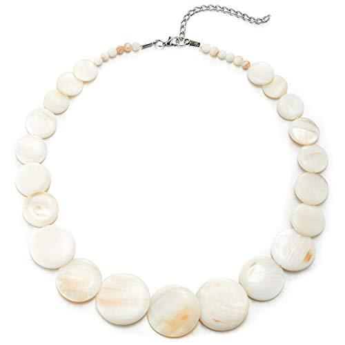 COOLSTEELANDBEYOND Weiß Kreis Scheibe Perlmutt Wulst Kette Halsband Choker Halskette Anhänger, Abendkleid Bankette Einzigartige