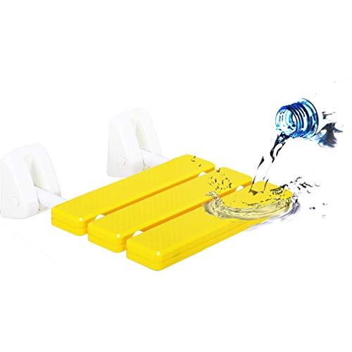 Tellgoy-Chair Duschsitz mit 250 kg, Faltbare Duschhocker, Sitzbank aus Aluminiumlegierung, an der Wand montierter Duschstuhl für ältere Menschen mit Behinderung, schwanger,Yellow