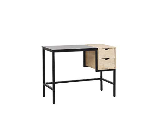 Beliani Harper - Escritorio con dos cajones compactos, 100 x 48 cm, color negro y madera clara