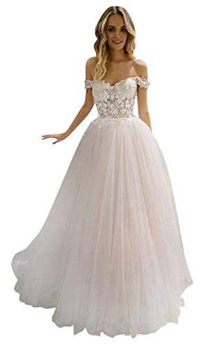 LeoGirl Women's Off Shoulder Wedding Dresses for Bride Lace Appliques Bridal Dress Beach Wedding Gowns Ivory 18 Plus