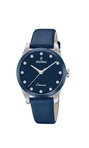 Festina Damen Analog Quarz Uhr mit Leder Armband F20473/2