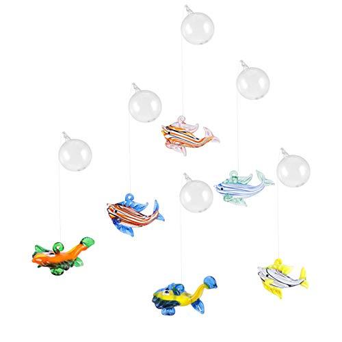 ALIANG 6 uds, Decoración de Bolas flotantes para Acuario, figuritas de Vidrio soplado para Decoraciones de Paisaje de Peces de pecera navideña