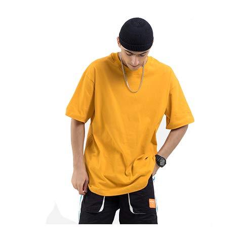 Mannen T-Shirt Modern Katoen Ongedwongen Met Korte Mouwen Coltrui Ademende Sweatshirt Multi-Color Optionele PX,Yellow,L