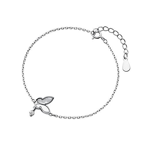 N/A s925 Pulsera de Concha de Mariposa Fresca pequeña de Plata Pulsera Simple de Bosque Dulce femeninoAniversario Día de la Boda Navidad Día de la Madre Regalo de cumpleaños.