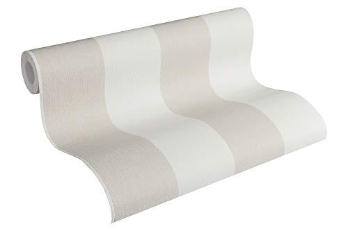 A.S. Creation 948342 - Carta da parati Scandinavian Blossum in tessuto non tessuto a righe, colore: Grigio selce Bianco perla