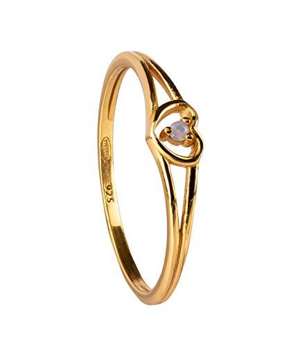 SIX Vergoldeter Ring aus 925er Silber mit Glaskristall - Größe: 54 (728-874)