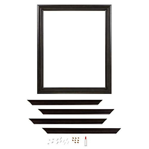 Zenna Home Decorative Mirror Framing Kit for Bathrooms, with Beveled Edges, 30 x 36 in., Espresso