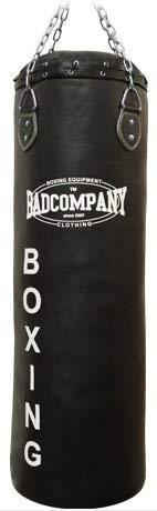 Bad Company Boxsack inkl. Heavy Duty Vierpunkt-Stahlkette I Leder Punching Bag, gefüllt I 180 x 35 cm - Schwarz