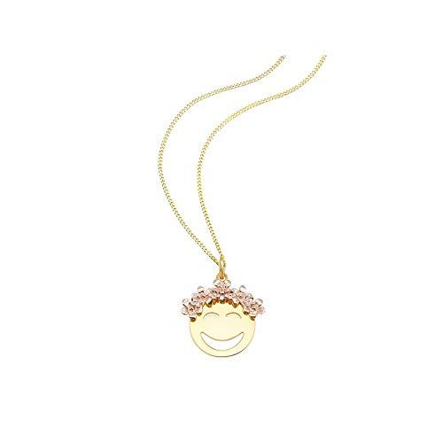 SO COSI Halskette, Anhänger mit Kette Emoji Flower Power Silber goldfarben NGP-SK010