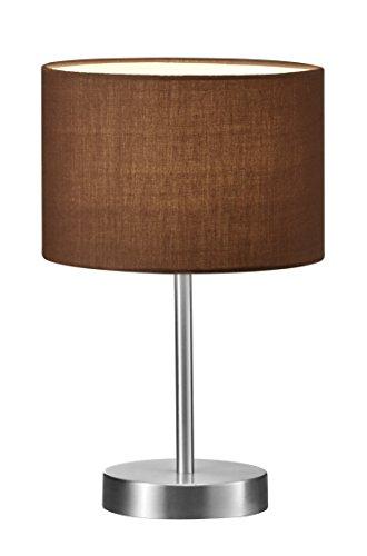lightling modern Tischleuchte in nickel matt, Stoffschirm braun, 1 x E14 max. 40W, ø 20 cm, Höhe: 32 cm