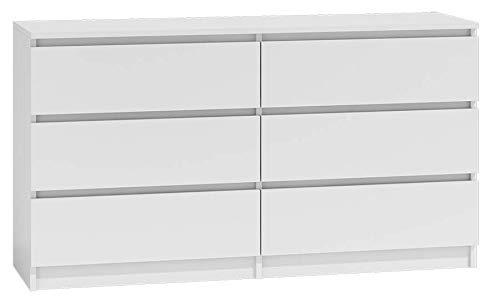 NOXEN - Cassettiera bianca M6 140, mobilia per camera da letto, credenza, sei cassetti, comodino, mobilia per casa, soggiorno, corridoio, comodino