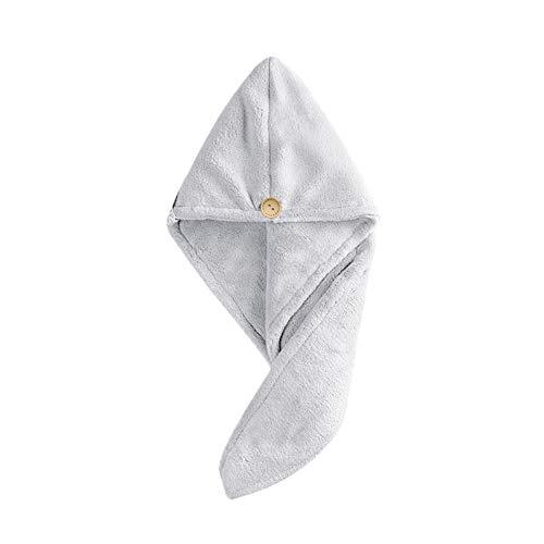 WFF sombrero Toallas de secado para el cabello para las mujeres Sombrero de pelo seco rápido, turbante de toalla de secado del cabello de la tapa del cabello de la tapa del pelo ultra suave con el bot