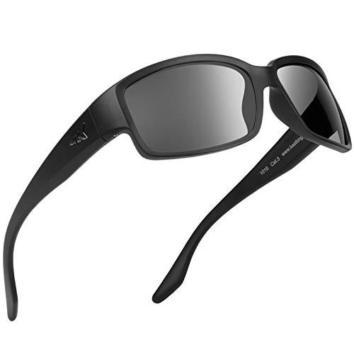 KastKing Skidaway Polarized Sport Sunglasses for Men and Women, Matte Blackout Frame, Smoke Lens