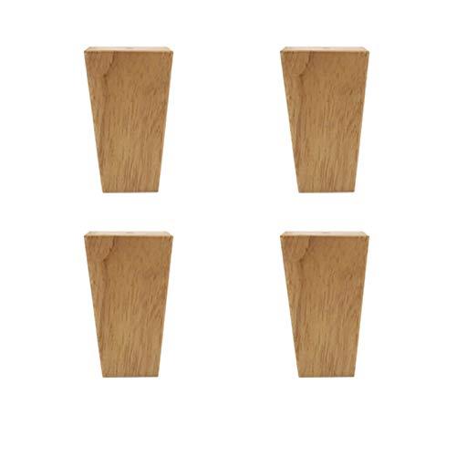 4 Pies de Muebles de Madera,Pies Cuadrados de Muebles de Madera Maciza,Pies de Mueble de TV Reemplazables,Con Placa de Montaje,Tornillos,Tapete Antideslizante (8cm/3.15in)