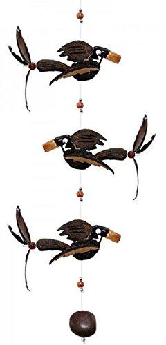 Unbekannt Windspiel Mobile 3 Vögel aus Holz, Länge ca. 81 cm