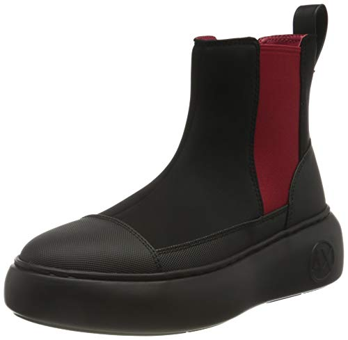 Armani Exchange Damen Neoprene & Rubber Chelsea Boot, Black & Red, 38 EU