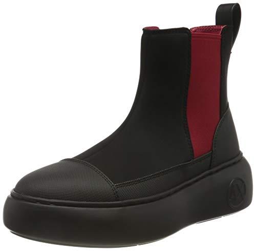 Armani Exchange Damen Neoprene & Rubber Chelsea Boot, Black & Red, 38 EU