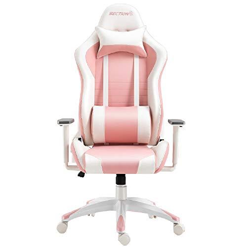 QZ HOME Swivel Chair E-Sports Silla Silla de Juego Rosa nina casa Juegos sillas Estudiante Dormitorio ergonomico Hembra Ancla Vivo computadora Silla (Color : White/Pink)