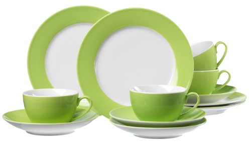 Ritzenhoff & Breker Kaffeeservice Doppio, 12-teilig, Porzellangeschirr, Grün