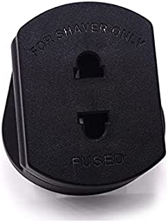 EU 2 Pin to UK 3 Pin 1A Fused Adaptor Plug for Shaver/Toothbrush (Black)