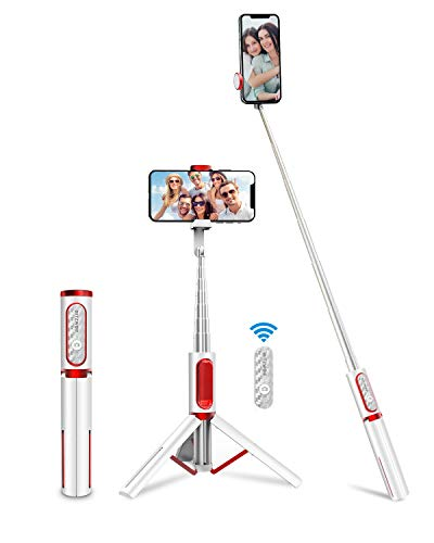 BlitzWolf Selfie Stick Treppiede in Alluminio, Asta Selfie Monopiede Estendibile, Bastone SelfieTutto in Uno con Telecomando Bluetooth per iPhone XS X 6, Samsung Galaxy S10 S8, Huawei -Bianco