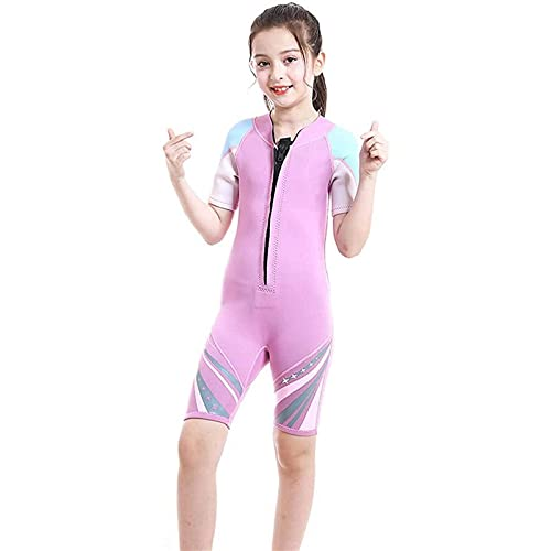 Trajes de Buceo, Chicas Shorty Traje de Neopreno Elasticidad 2.5mm Traje de Buceo de Neopreno Traje de protección UV para Buceo Snorkeling Surf (Color : Pink, Size : M)