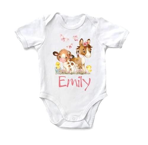 Personlig babykropp, gåva för födsel, dop, namnsdag, häst, B3 (74/80)