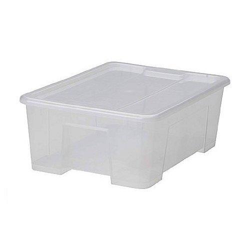 2 cajas Xikea Samla de 11 litros, con tapa