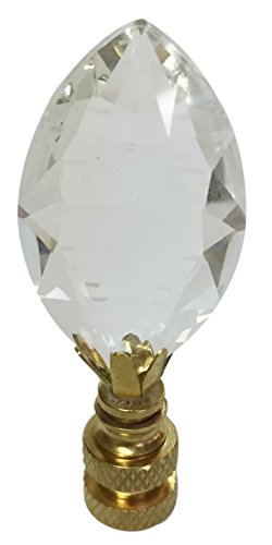 Royal Designs CCF2010-PB-1 Pear Shaped Clear K9 Crystal 1' Finial for Single Lamp Shade, Polished Brass Base, Pack-1, Multicolor