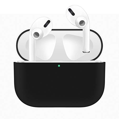 HATALKIN Case Compatible with Airpods Pro Case Premium Silicone Airpod Pro Case Protective Cover for Airpods 3 (Front LED Visible) (Won't Affect Wireless Charging) (Black)