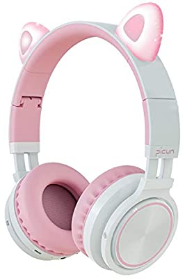 Picun Cat Ear Bluetooth Headphones Wireless Over Ear Foldable Headsets with Microphone LED Light for Girls - Pink White by Picun