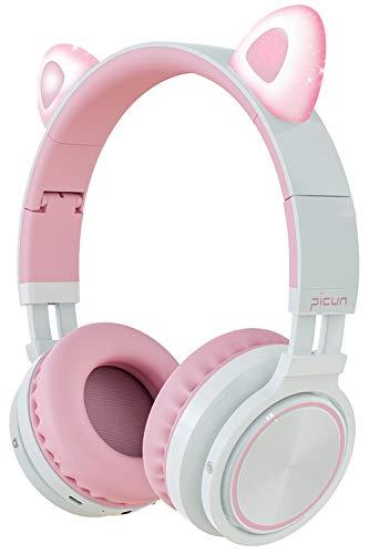 Picun Katzenohren Bluetooth Kopfhörer Kabellos Klappbare Cat Ears Over-Ear Headsets mit Mikrofon LED-Licht für Mädchen Frau - Pink Weiß