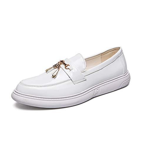 L-YIN Borlas para Hombres para Hombres Redondo Moc Toe Stitching Grueso Caucho Sole Sólido Color Sólido Vegan Slip-On Black, Blanco (Color : White, Size : 43 EU)